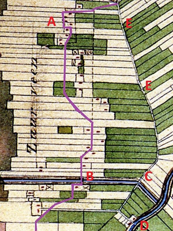 Het Hondepad door Zuiderveen (lila). A = Woonplaats vande bezwaarden tegen afsnijding Hondepad ; B = Bat over door Zuiderveenster Hoofdwijk; C = Klap in de rijweg; D = Strobos; E = De toenmalige rijweg Winschoten-Pekela (nu verdwenen).
